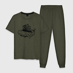 Пижама хлопковая мужская Whale forest цвета меланж-хаки — фото 1