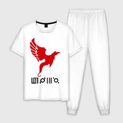 Пижама хлопковая мужская 30 STM: Bird цвета белый — фото 1