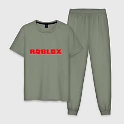 Пижама хлопковая мужская Roblox Logo цвета авокадо — фото 1