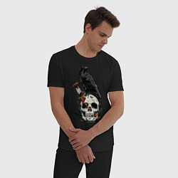Пижама хлопковая мужская Ворон цвета черный — фото 2