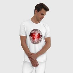 Пижама хлопковая мужская Красный закат в тропиках цвета белый — фото 2