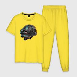 Пижама хлопковая мужская Born to loot цвета желтый — фото 1