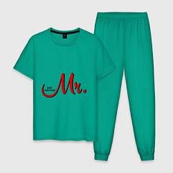 Пижама хлопковая мужская Mr. Just married цвета зеленый — фото 1