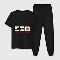 Пижама хлопковая мужская Еда, сон и баскетбол цвета черный — фото 1