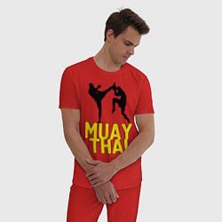 Пижама хлопковая мужская Muay Thai цвета красный — фото 2