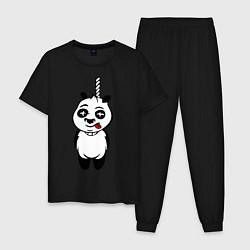Пижама хлопковая мужская Панда повесилась цвета черный — фото 1