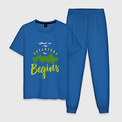 Пижама хлопковая мужская Adventure Begins цвета синий — фото 1