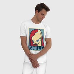 Пижама хлопковая мужская MLP: Smile цвета белый — фото 2