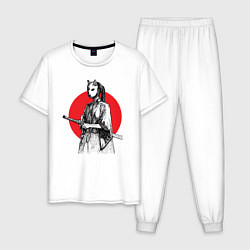 Пижама хлопковая мужская Самурай на страже цвета белый — фото 1