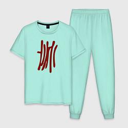 Пижама хлопковая мужская Бездомный Бог цвета мятный — фото 1