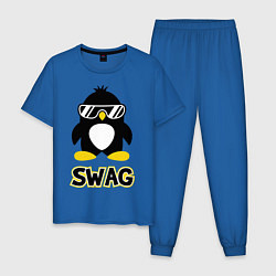 Пижама хлопковая мужская SWAG Penguin цвета синий — фото 1