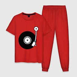 Пижама хлопковая мужская Vinyl Mix цвета красный — фото 1