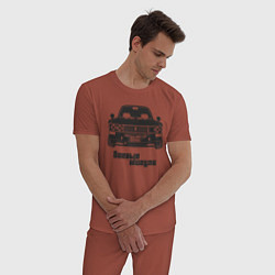 Пижама хлопковая мужская Боевые жигули Ваз 2106 цвета кирпичный — фото 2