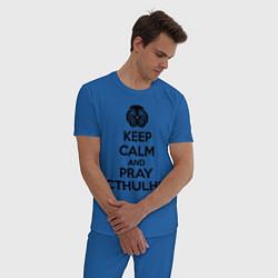 Пижама хлопковая мужская Keep Calm & Pray Cthulhu цвета синий — фото 2