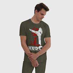 Пижама хлопковая мужская Kudo цвета меланж-хаки — фото 2