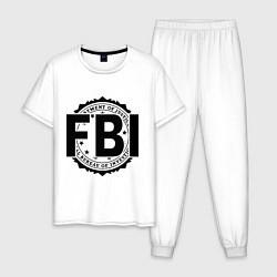 Пижама хлопковая мужская FBI Agency цвета белый — фото 1