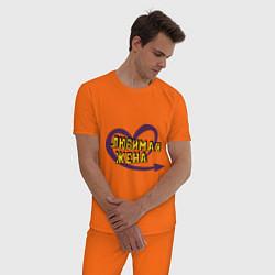 Пижама хлопковая мужская Любимая жена цвета оранжевый — фото 2