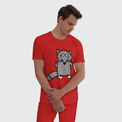 Пижама хлопковая мужская Хитрый лис цвета красный — фото 2
