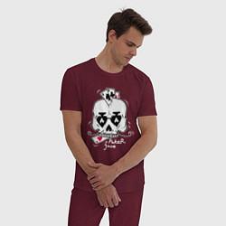 Пижама хлопковая мужская Poker Face цвета меланж-бордовый — фото 2