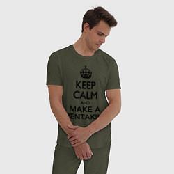 Пижама хлопковая мужская Keep Calm & Make A Pentakill цвета меланж-хаки — фото 2