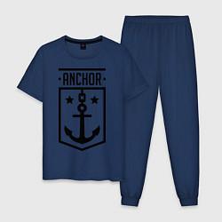 Пижама хлопковая мужская Anchor Shield цвета тёмно-синий — фото 1
