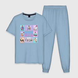 Пижама хлопковая мужская BTS Boys цвета мягкое небо — фото 1