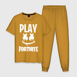 Пижама хлопковая мужская Marshmello: Play Fortnite цвета горчичный — фото 1