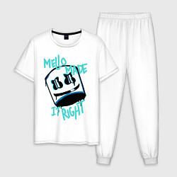 Пижама хлопковая мужская Mello Made it Right цвета белый — фото 1