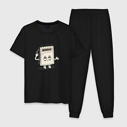 Пижама хлопковая мужская Monday цвета черный — фото 1