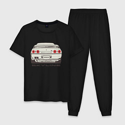Пижама хлопковая мужская Nissan Skyline R32 цвета черный — фото 1