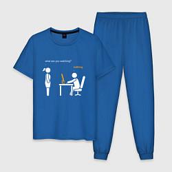 Пижама хлопковая мужская Pornhub цвета синий — фото 1