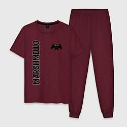 Пижама хлопковая мужская Marshmello Style цвета меланж-бордовый — фото 1