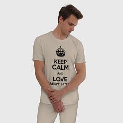 Пижама хлопковая мужская Keep Calm & Love Harry Styles цвета миндальный — фото 2