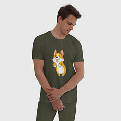 Пижама хлопковая мужская Корги лапочка цвета меланж-хаки — фото 2