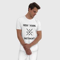 Пижама хлопковая мужская NY Detroit цвета белый — фото 2