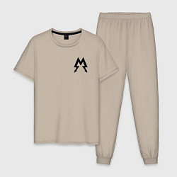 Пижама хлопковая мужская Metro: Sparta цвета миндальный — фото 1