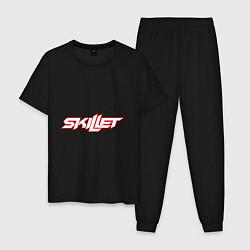 Пижама хлопковая мужская Skillet цвета черный — фото 1