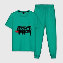 Пижама хлопковая мужская Bring me the horizon цвета зеленый — фото 1