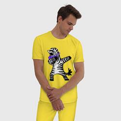 Пижама хлопковая мужская Zebra DAB цвета желтый — фото 2