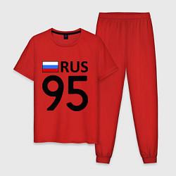 Пижама хлопковая мужская RUS 95 цвета красный — фото 1