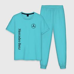 Пижама хлопковая мужская MERCEDES-BENZ цвета бирюзовый — фото 1