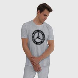 Пижама хлопковая мужская MERCEDES-BENZ: Classic цвета меланж — фото 2