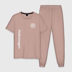 Пижама хлопковая мужская VOLKSWAGEN цвета пыльно-розовый — фото 1