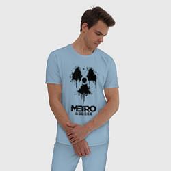 Пижама хлопковая мужская METRO EXODUS цвета мягкое небо — фото 2
