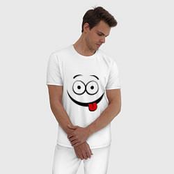 Пижама хлопковая мужская Неутомимый проказник цвета белый — фото 2