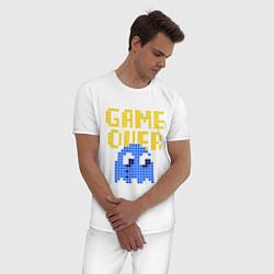 Пижама хлопковая мужская Pac-Man: Game over цвета белый — фото 2