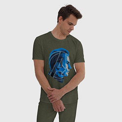 Пижама хлопковая мужская Captain America: Avengers цвета меланж-хаки — фото 2