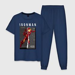 Пижама хлопковая мужская Iron Man: Glitch Effect цвета тёмно-синий — фото 1