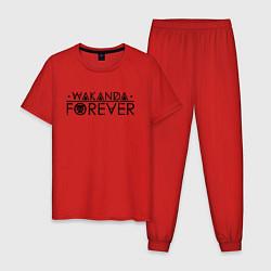 Пижама хлопковая мужская Wakanda forever цвета красный — фото 1