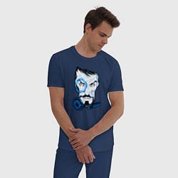 Пижама хлопковая мужская Взгляд Тони Старка цвета тёмно-синий — фото 2
